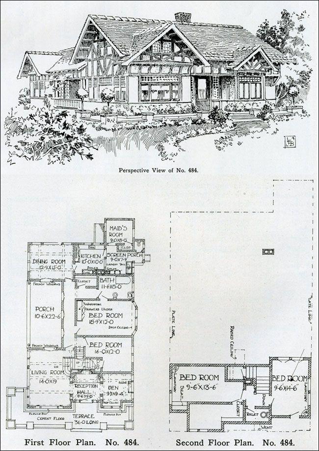 1910 Two Story Tudor Revival House Plan Henry Wilson The
