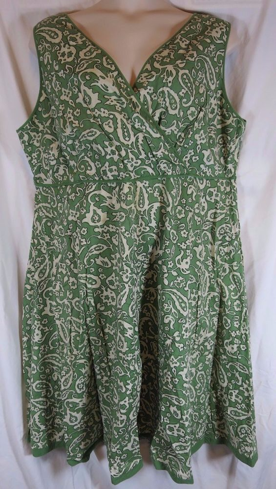 Charter Club Green Cotton Faux Wrap Sleeveless Dress Summer Plus 24W
