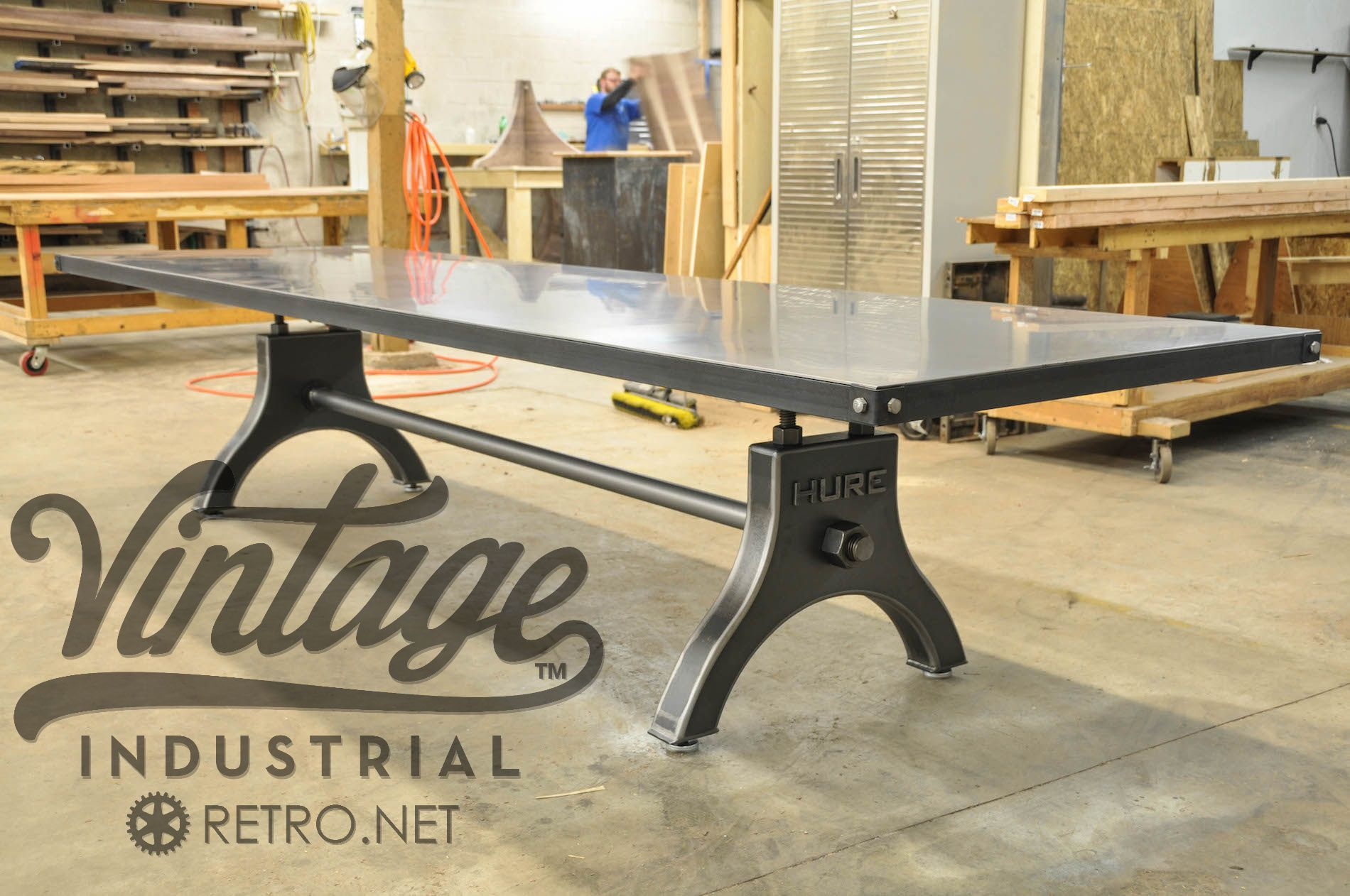 Hure Conference Table Steel Vintage Industrial And Vintage - Corner conference table