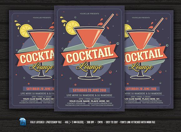 Cocktail Lounge Flyer Creativework  Templates  Templates