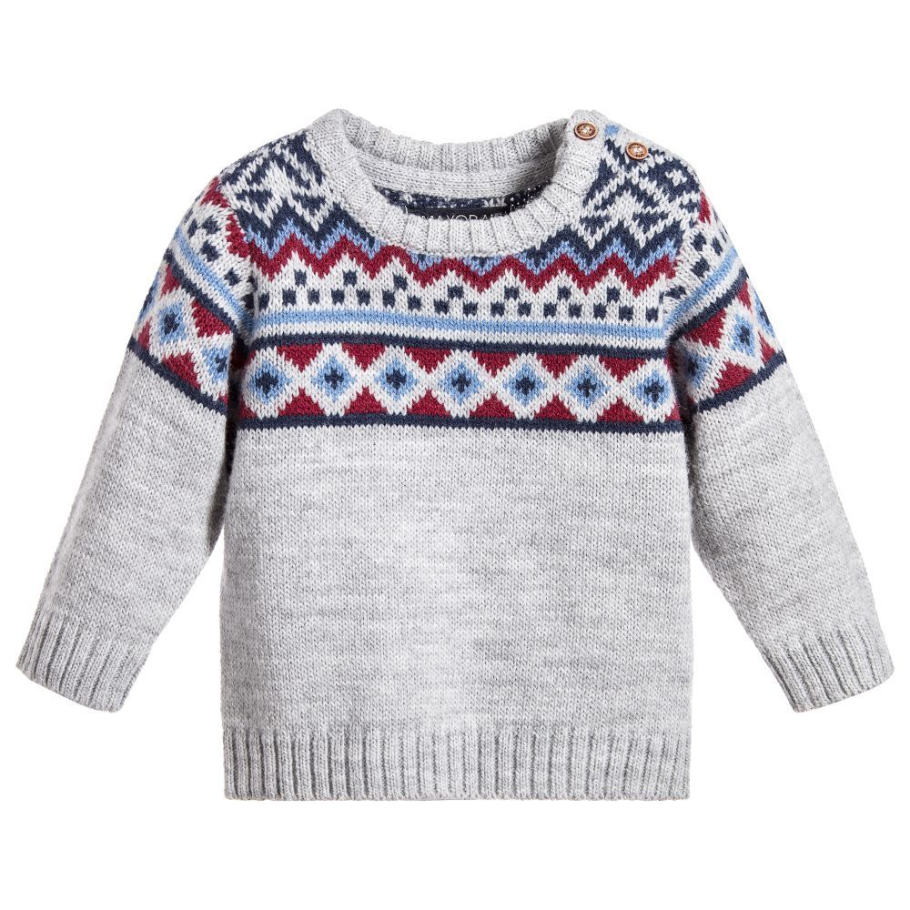 Mayoral - Boys Grey Fair Isle Sweater | | #TOPS #JUMPERS #KIDS ...