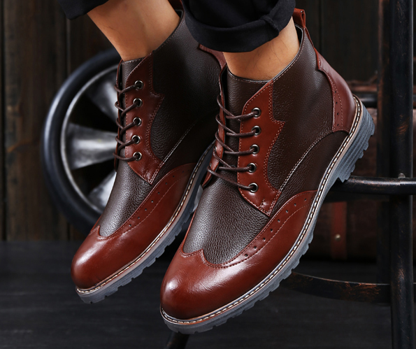 Steampunk Chic Mens Riding Punk Ankle Boots Trendy Patchwork Classical Men  Shoe Casual Leather Boots Knight Dress Shoes 704dcd104fb