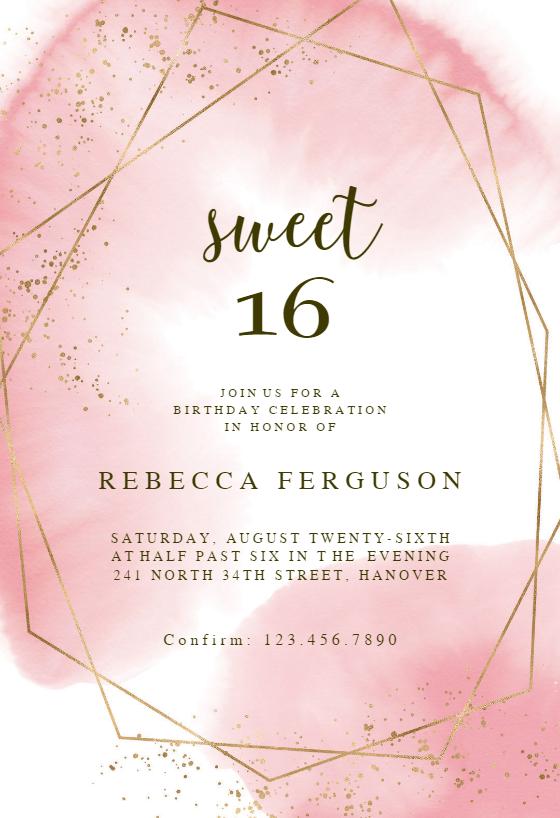 gold polygon birthday invitation