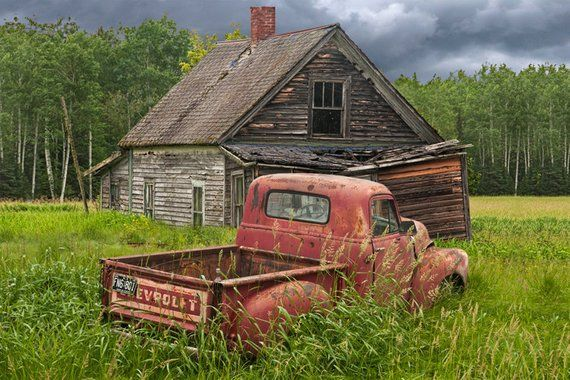 Red Pickup Truck Abandoned Farm House Rusty Auto Chevy | Etsy