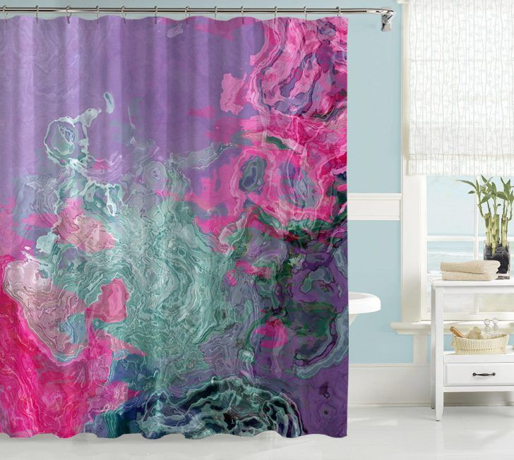 Abstract Shower Curtain Purple Cream And Green Excellent Curtains