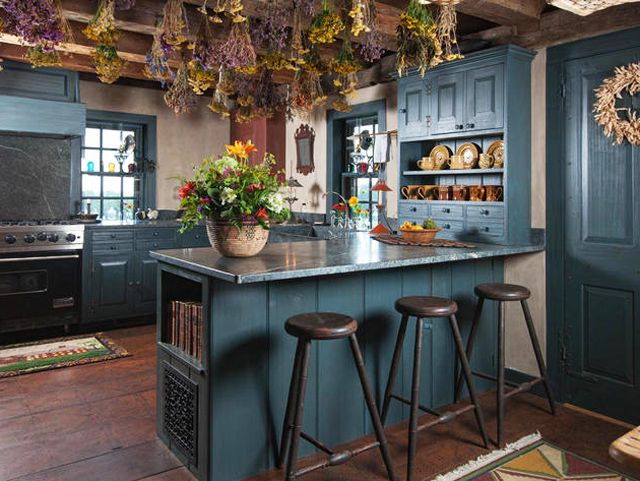 kitchen design in rustic style with dark green walls and island - Dark Green Kitchen Designs