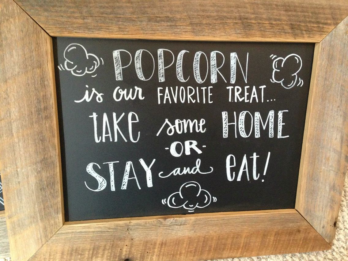 Popcorn Bar Chalkboard Popcorn Bar In 2019 Wedding