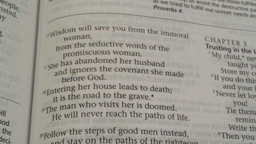 Thank you God for the wisdom!  Proverbs 2:16