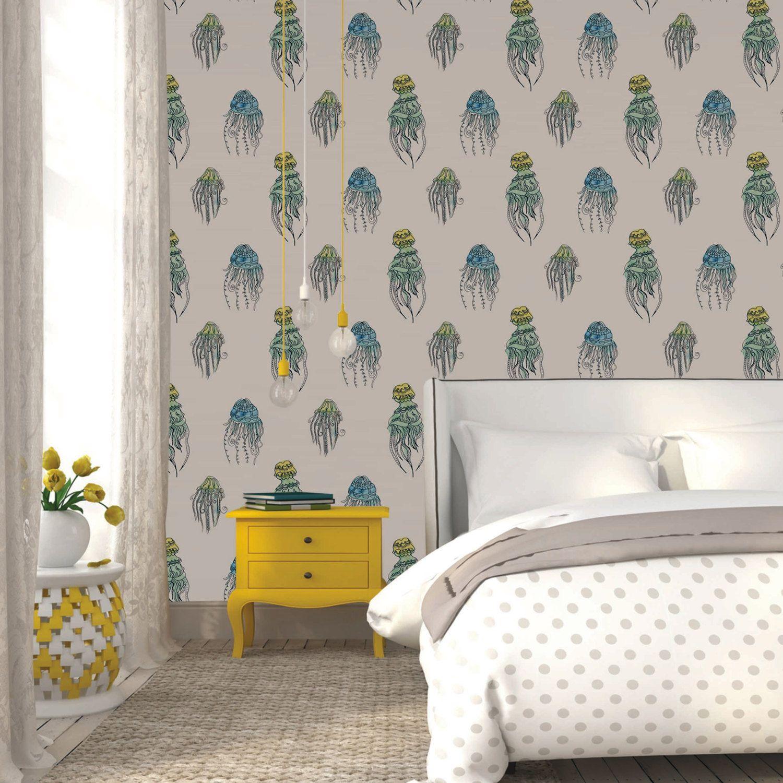 Jellyfish Removable Wallpaper Soft Pretty Self Adhesive Unique Home Decor Designs