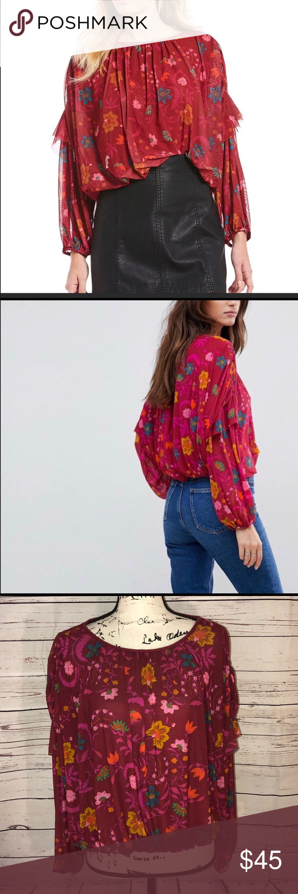 c528b593953e57 Free People Wildflower Honey Top Size S NWT Free People Wildflower Honey Top  in Berry Combo Size S NWT Across the chest laid flat is approximately 27 in  ...