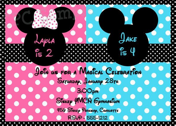 Minnie or Mickey Mouse Birthday Invitation by CutiesTieDyeBoutique – Minnie Invitations for Birthdays