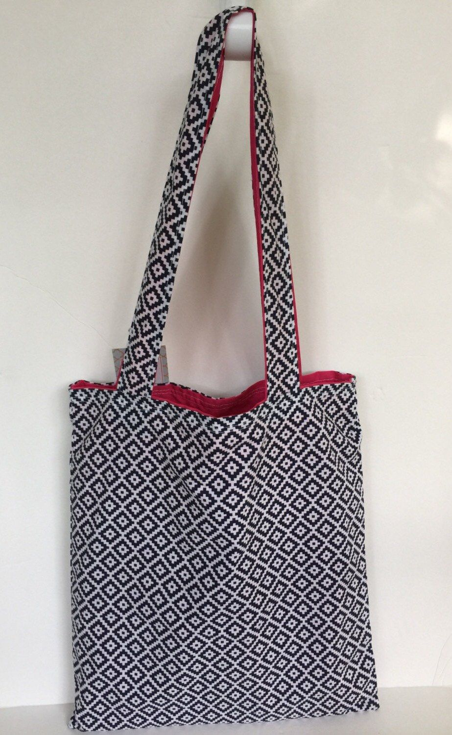 Navy Blue and Pink Market Tote Handmade Navy Southwestern Print Farmer's Market Bag Tote Bag Reversible Tote Bag by AmyReneeNicosia on Etsy