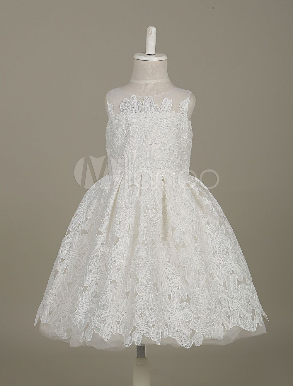 Flower girl dresses white lace tutu dress sleeveless pleated tulle