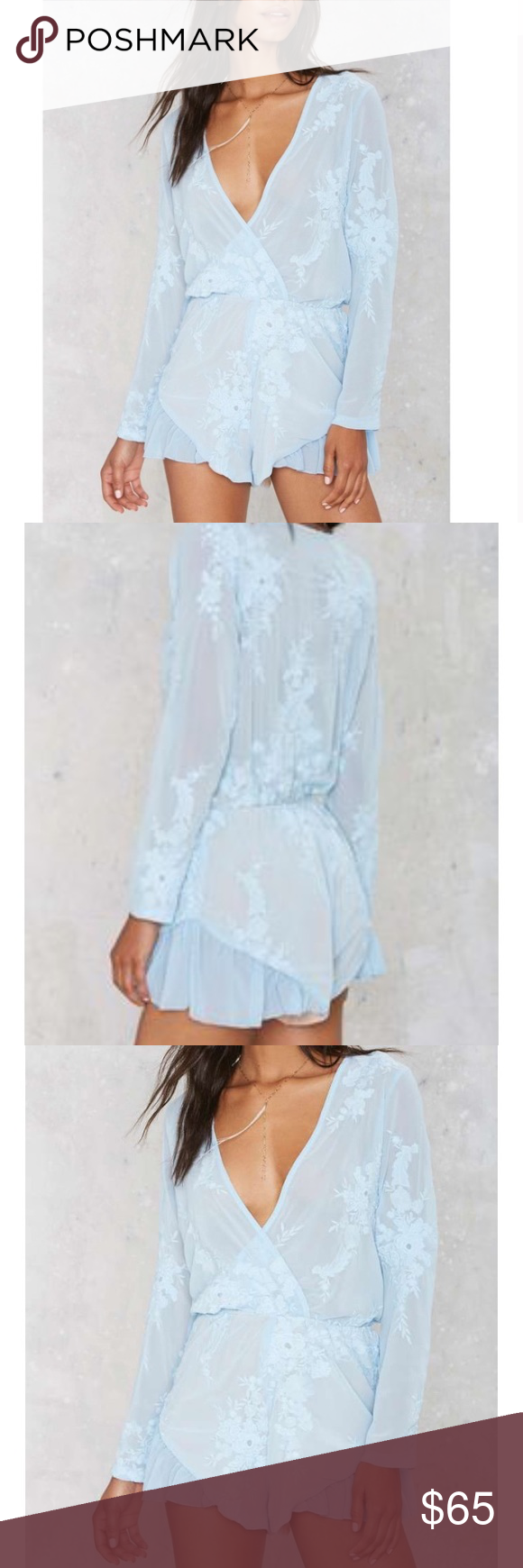 a1857966460 Powder Blue Embroidered Romper A beautiful powder   baby blue embroidered  floral romper from Lioness.