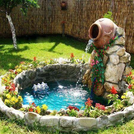decor de jardin petit bassin avec fontaine