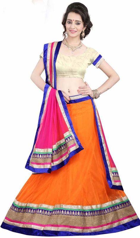 Add grace and charm towards the appearance in this orange color shade net lahenga cholie. The brilliant attire creates a dramatic canvas with astounding resham and zari work. #GrabTwoShadesOfLehengaCholi