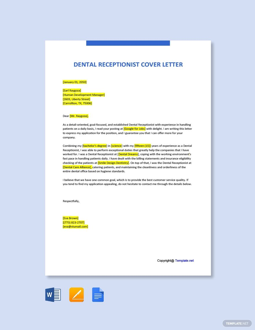 Dental Office Receptionist Cover Letter Template Free Pdf Word Apple Pages Cover Letter Template Cover Letter Template Free Lettering