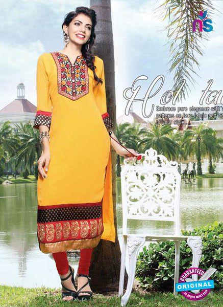 NS11798 Yellow and Red Pure Chiffon Karachi Style Kurti
