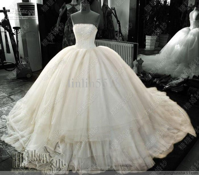 89f4dce19c Wholesale Luxury Amazing Large Multilayer Fluffy Tulle Ruffles Beaded Ball  Gown Bridal Wedding Dresses Corset Back Empire Waist Royal Train, Free  shipping, ...