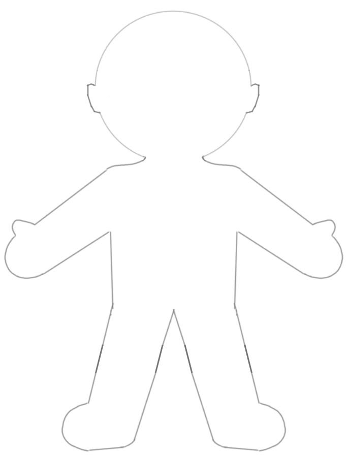 graphic about Printable Paper Doll Template called blank paper doll template for \