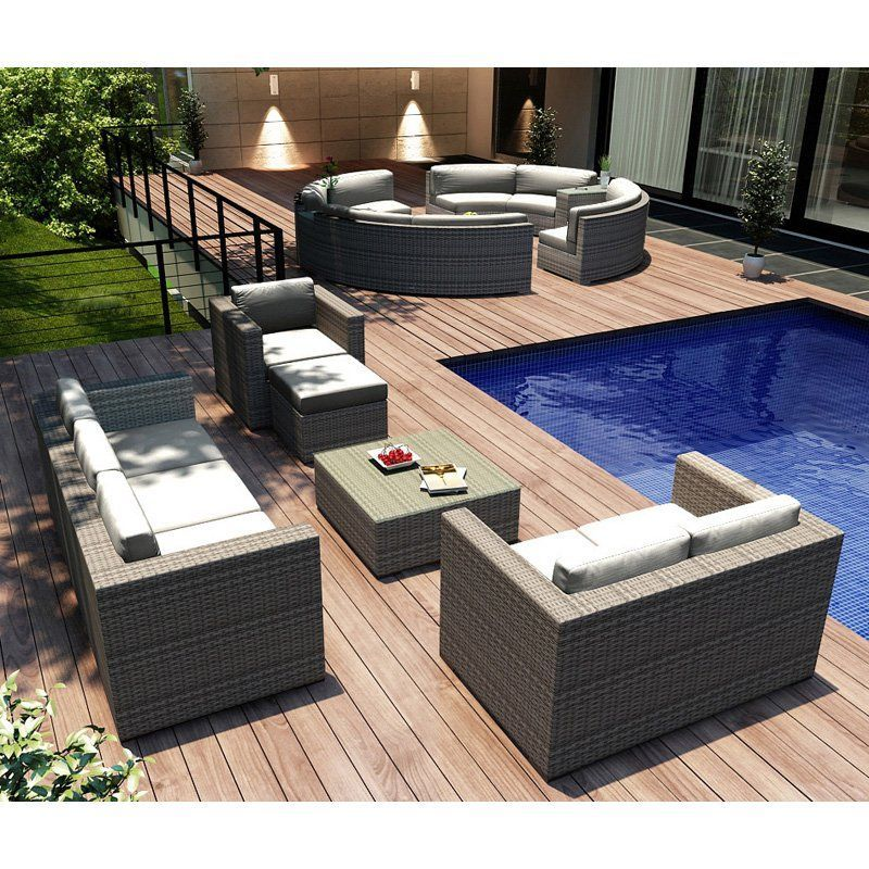 Harmonia Living Urbana Sofa Conversation Set Sunbrella Canvas Natural Coffee Bean - HL-URBN-CB-5SS-CN