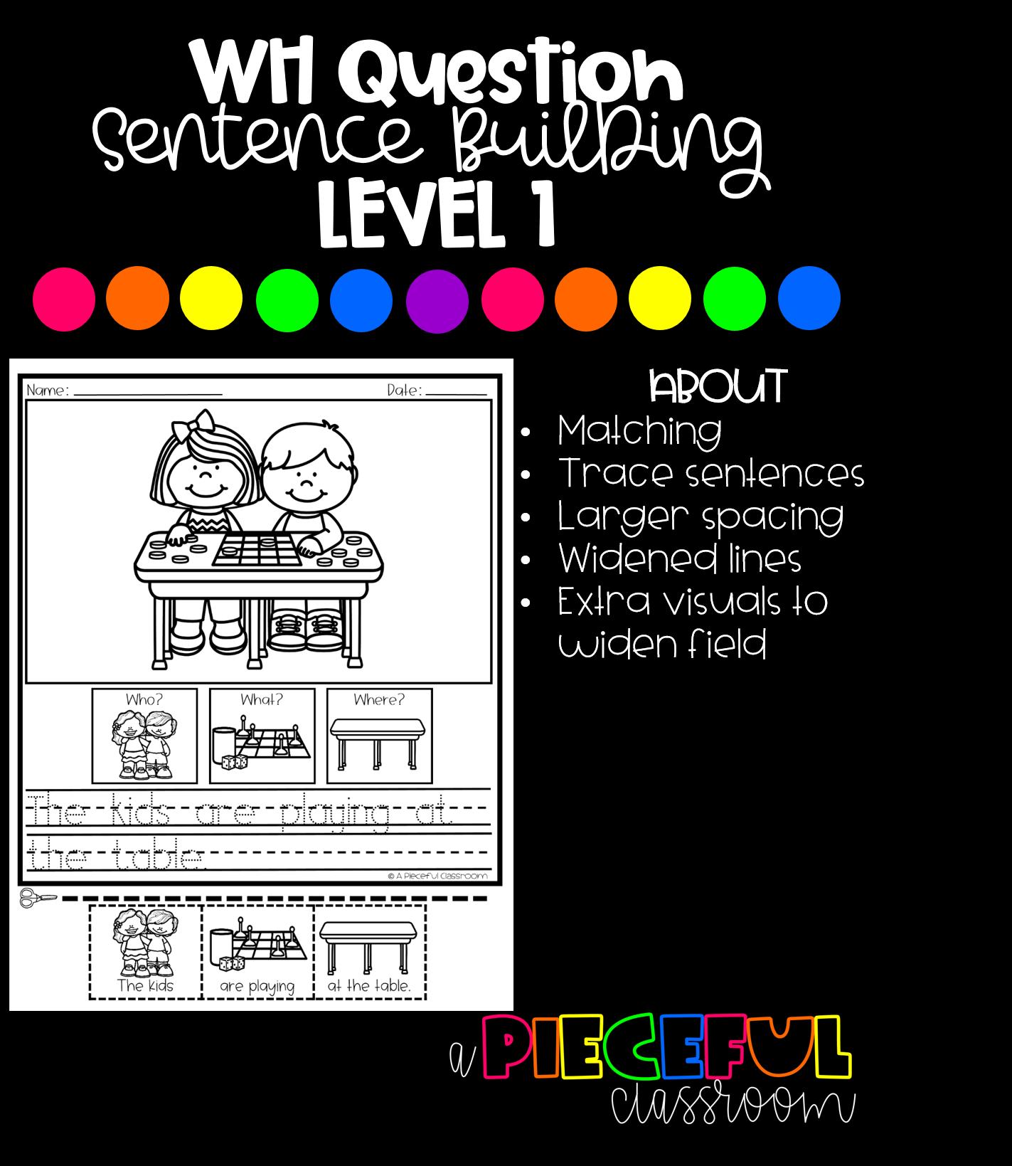 Wh Question Sentence Building Level 1