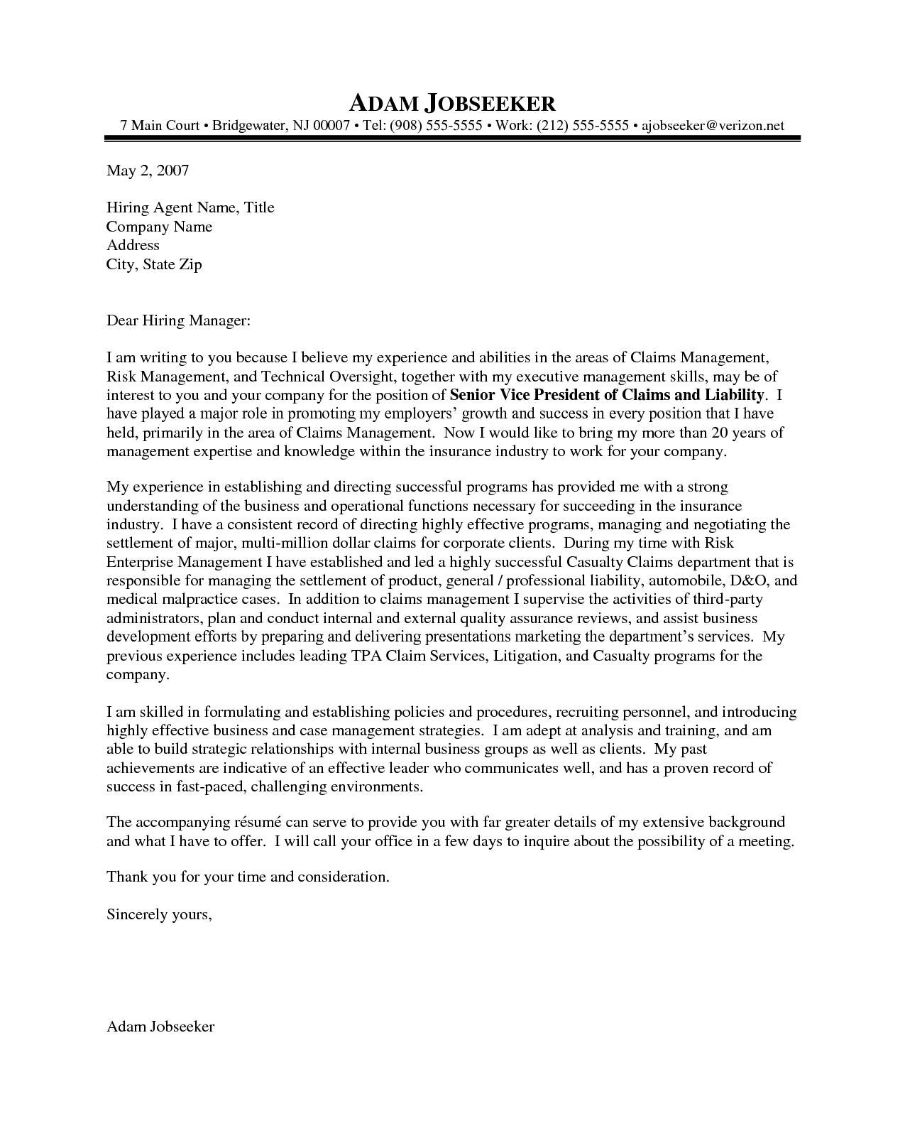 Resume Example, Insurance Executive Example Of A Cover Letter ~ Example Of  A Cover Letter For Job