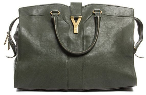 Yves Saint Laurent Pre-Owned Yves Saint Laurent Hunter Green Leather large Cabas Chyc Bag
