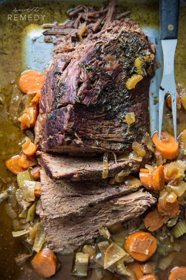 Slow Cooker Pot Roast with Garden Vegetables | Sweet-Remedy.com #quickrecipe #slowcooker #crockpot #recipe