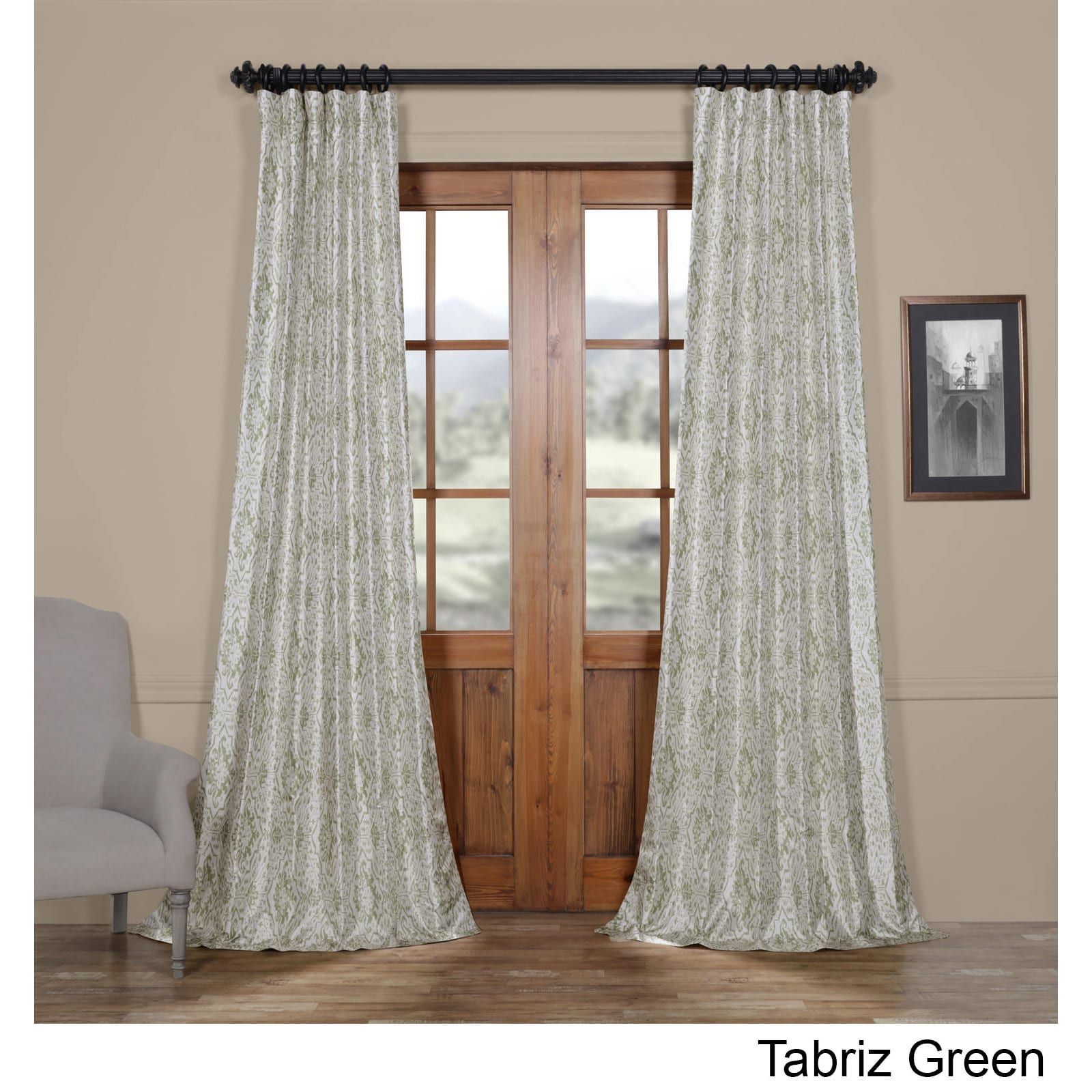 New window coverings 2018  exclusive fabrics tabriz printed faux silk taffeta blackout curtain