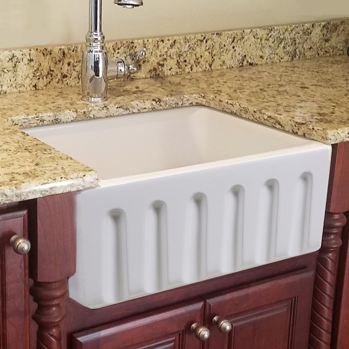 Highpoint Collection 24 Inch Single Bowl Reversible Fireclay Farmhouse Kitchen Sink Farmhouse Sink Kitchen Sink Stainless Steel Kitchen Sink Undermount