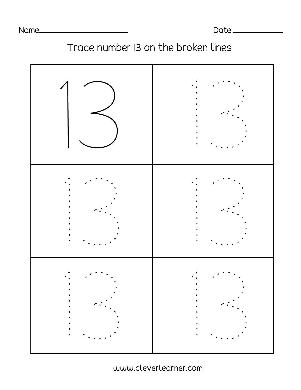 Free Preschool Kindergarten Worksheets Counting Number Recognition 5 Number 13 Preschool Worksheets Tracing Worksheets Preschool Printable Preschool Worksheets [ 1650 x 1276 Pixel ]