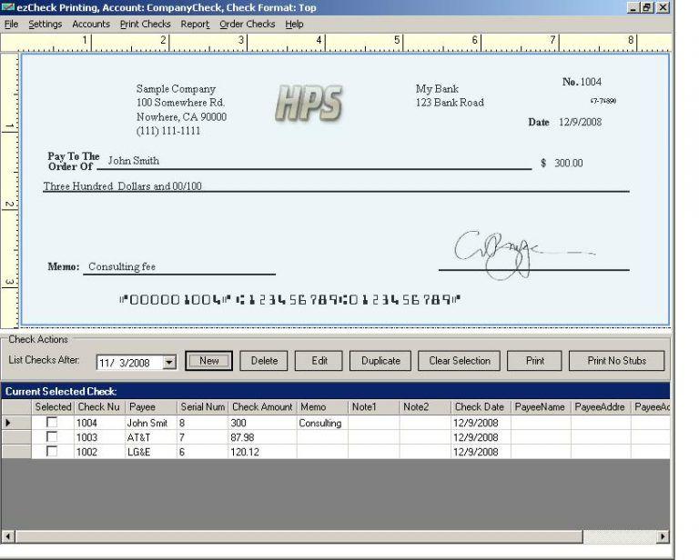 Payroll Check Template Payroll, Checkbook register