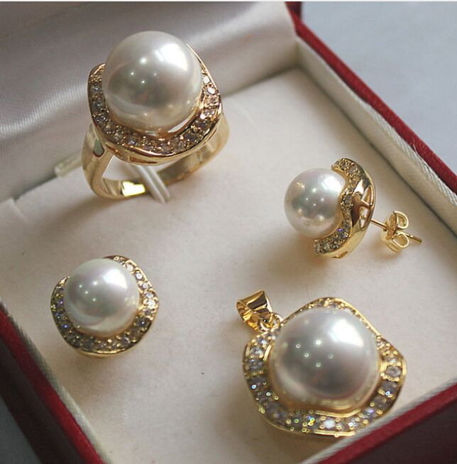 Genuine 10mm//14mm South Sea Shell Pearl Sterling Silver Earring necklace Set