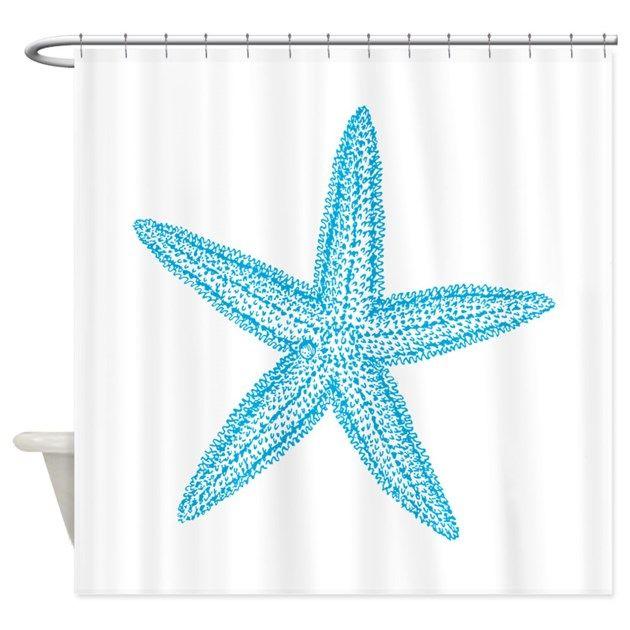 Aqua Blue Starfish Shower Curtain By Missthree Beach Shower Curtains Fabric Shower Curtains Curtains