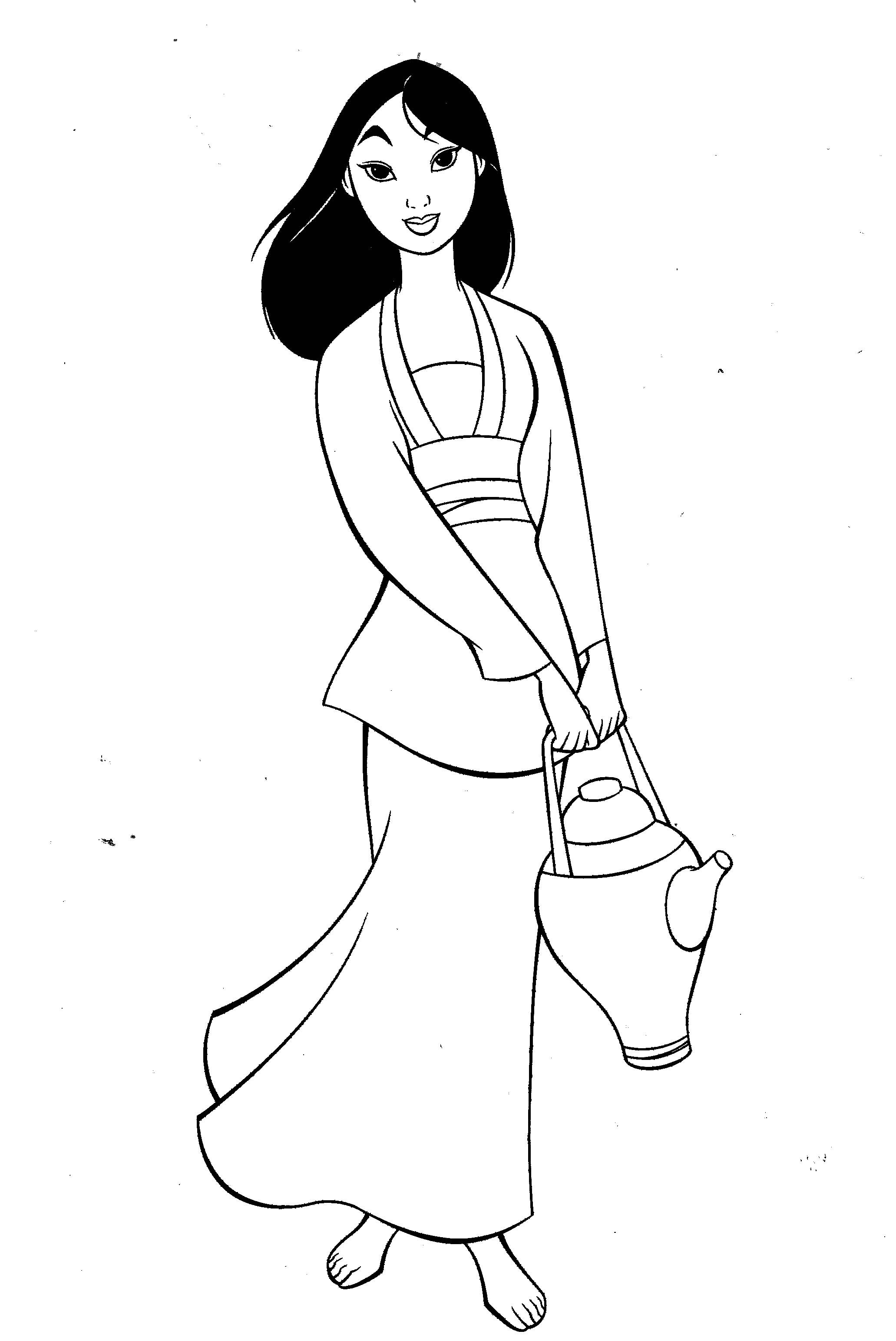 mulan bring drinking water coloring pages for kids printable mulan coloring pages for kids
