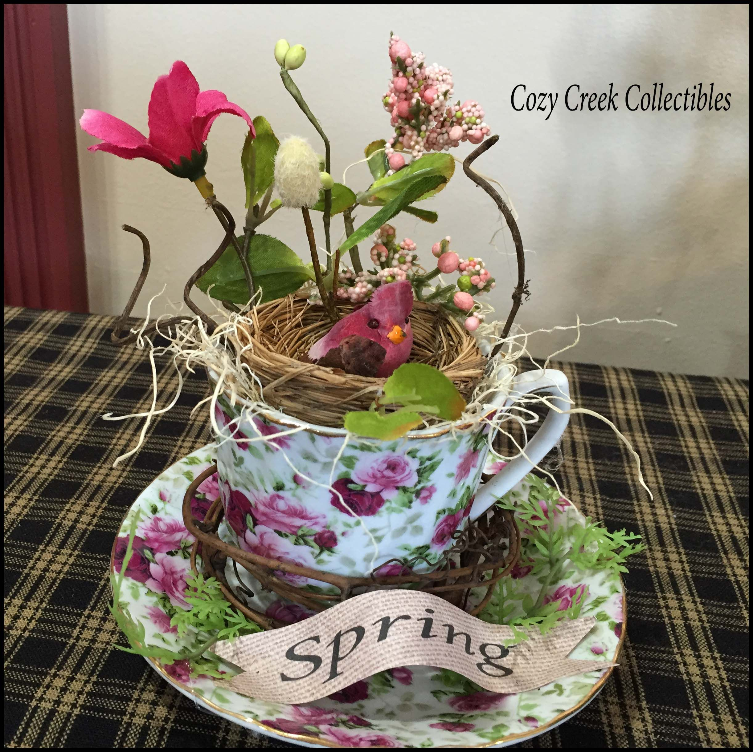 Spring In Bloom Hand Decorated Teacup And Saucer Decoration $37