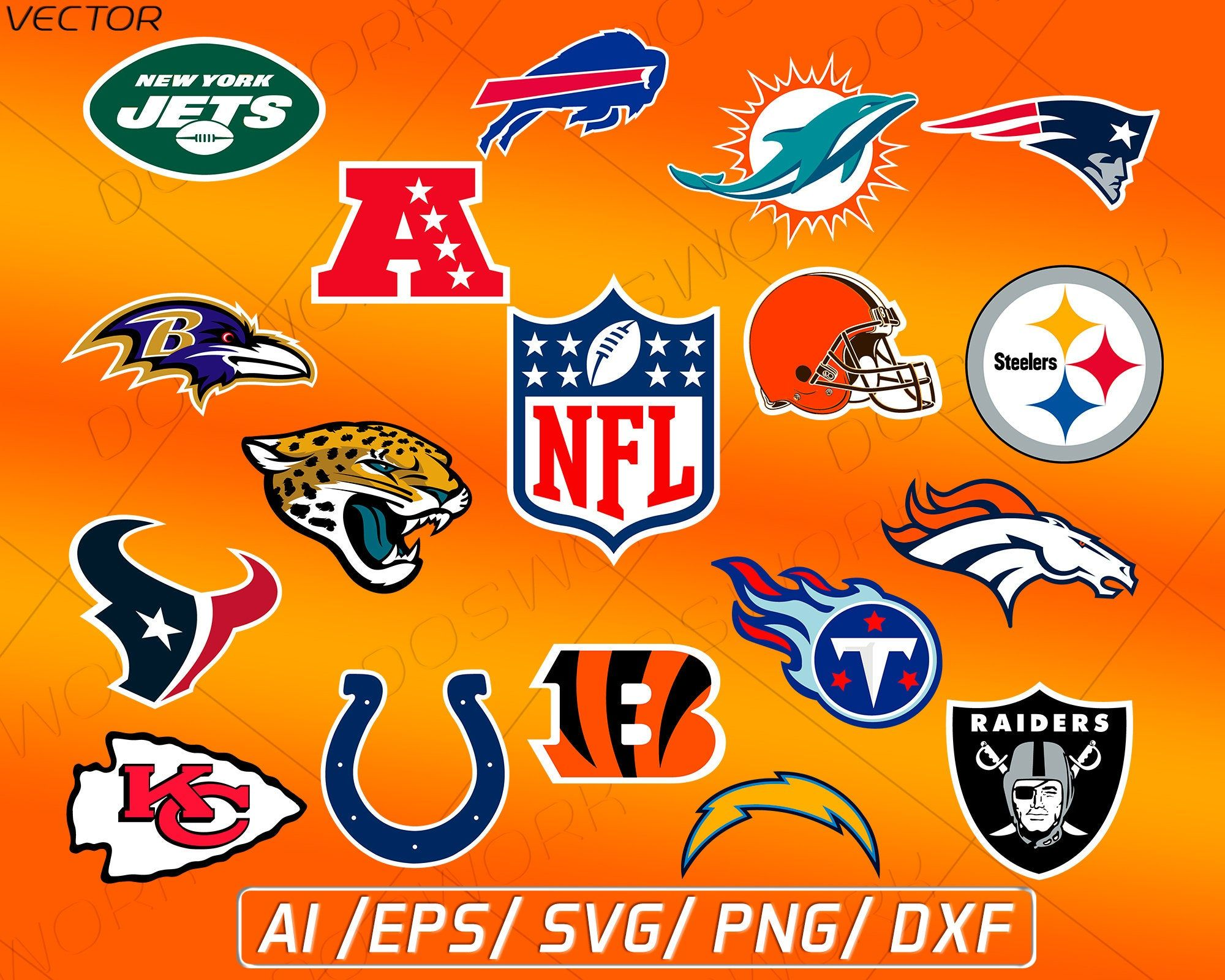 NFL AFC Football clipart vector SVG cricut digital