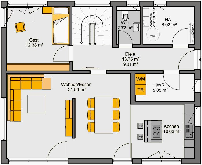Fertighaus Bellissimo 160 Grundriss EG Планировки Pinterest - floor plan template