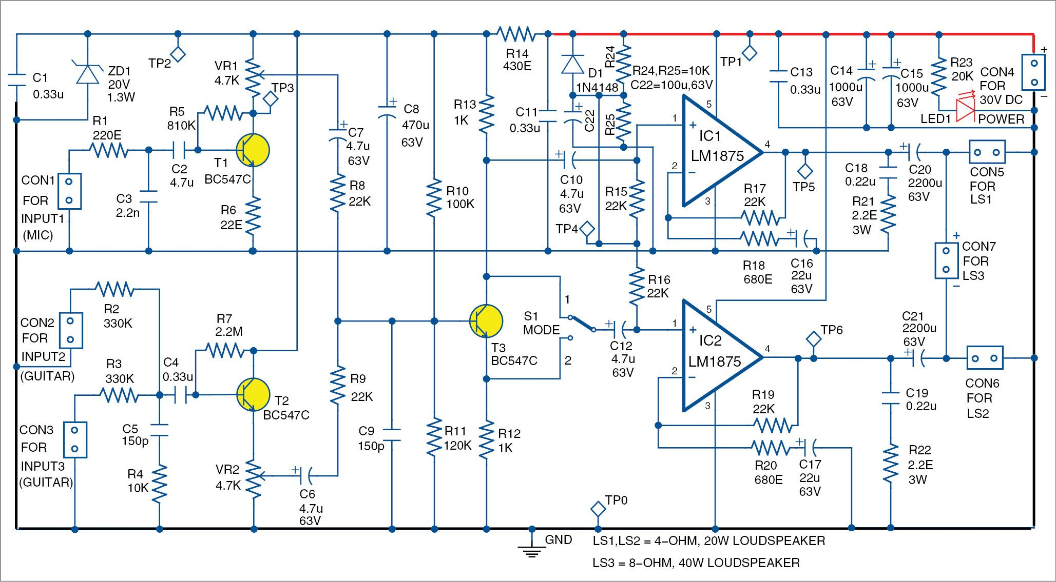 medium resolution of simple dual way amplifier for microphone and guitars