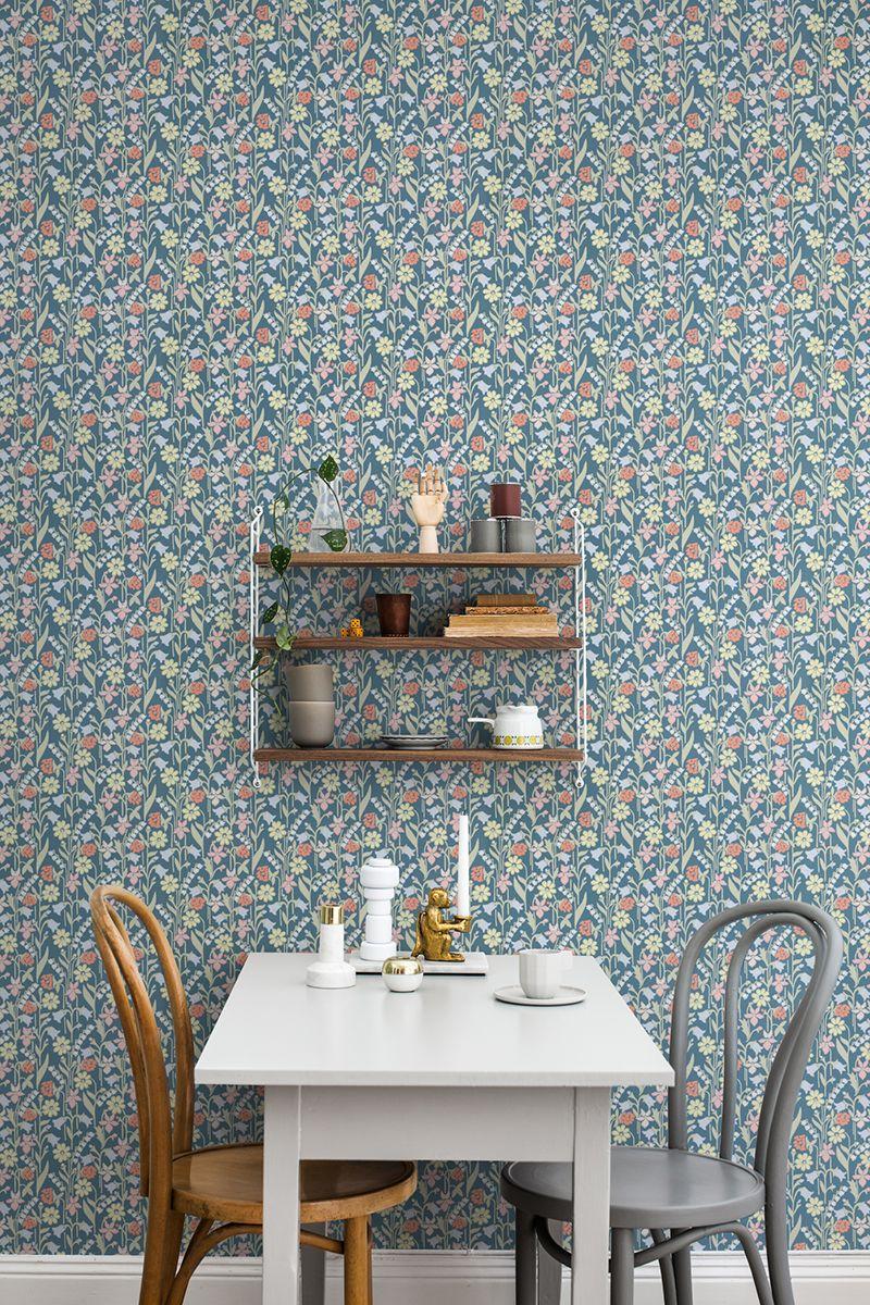 Juniflora By Sandberg Navy Pink Wallpaper Wallpaper Direct Dark Blue Wallpaper Blue Wallpapers Dining Room Wallpaper