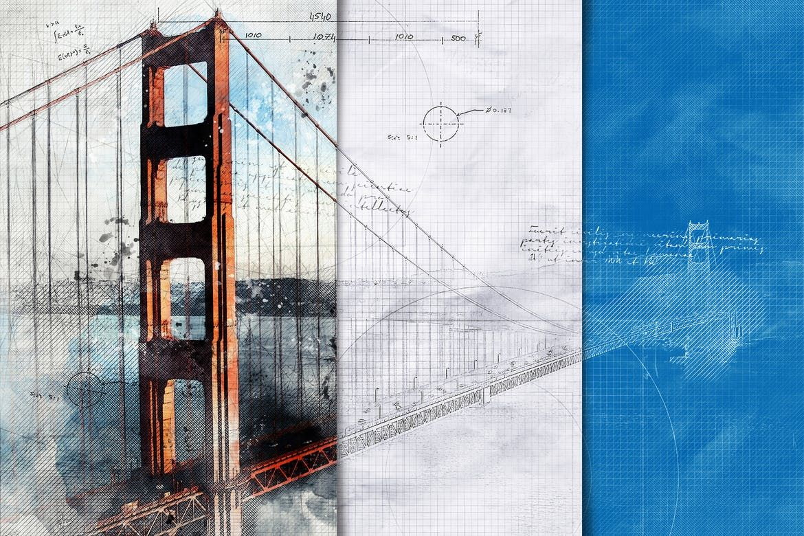 Architecture Sketch And Blueprint Photoshop Action By Indworks On