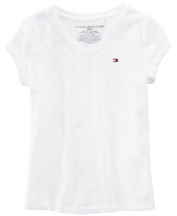 6c1a13096cb Tommy Hilfiger Big Girls Cotton V-Neck T-Shirt - White L (12 14)
