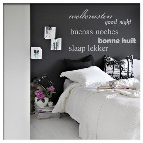 muursticker tekst slaapkamer welterusten