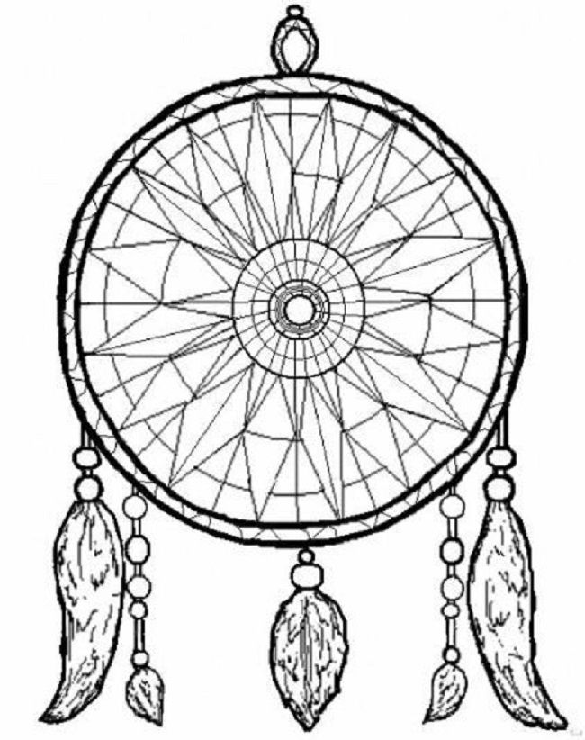 simple dream catcher coloring pages - Dream Catcher Coloring Pages