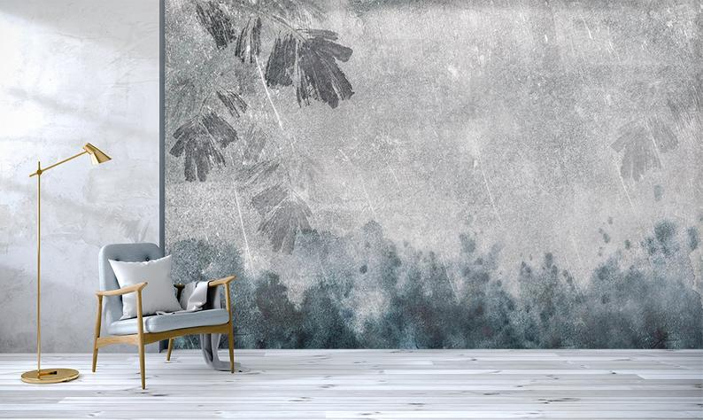 3d Concrete Walls Blue Splashes Of Ink Abstract Leaf Etsy Leaf Wallpaper Mural Wallpaper Concrete Wall