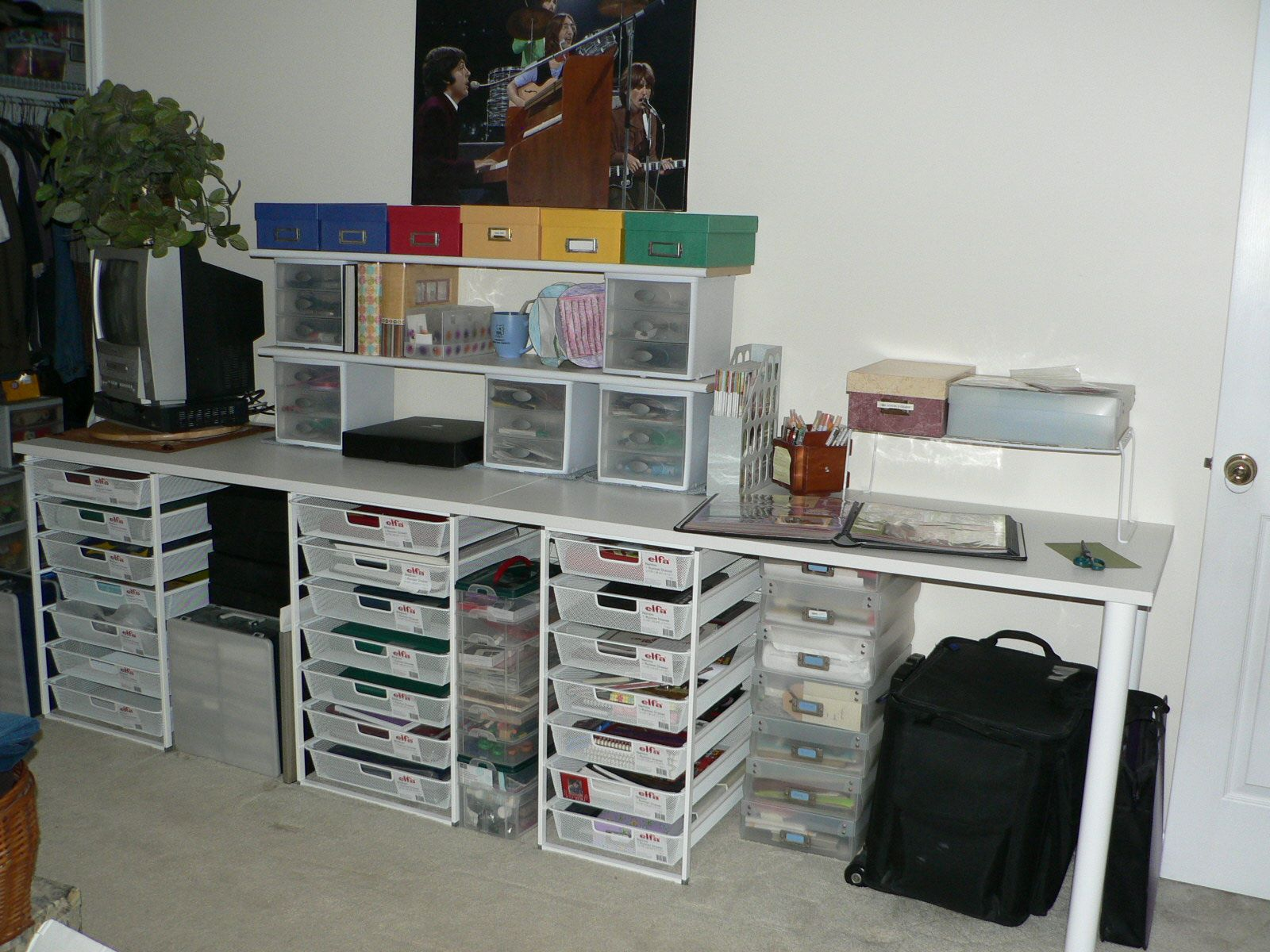 Wonderful My Scrapbook Table   Elfa From The Container Store With A Splash Of Photo  Boxes From