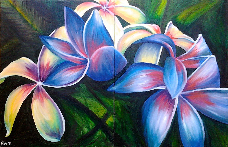 Hawaiian fav flowers paint pinterest hawaiian art hawaiian custom order floral landscape hawaiian flower lilly frangipanis orchid tulips autumn tree made to order via etsy izmirmasajfo Image collections