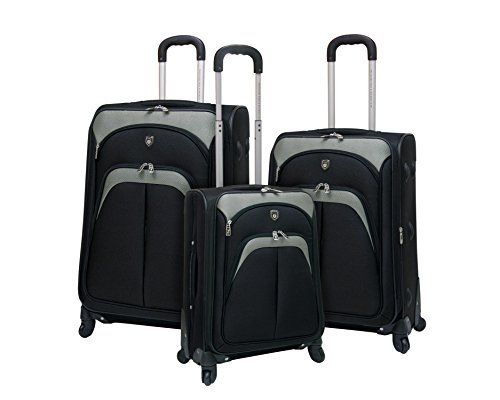 3 piece TwoToned Expandable Softside Spinner Luggage Set  Black -- This is an Amazon Affiliate link. Learn more by visiting the image link.