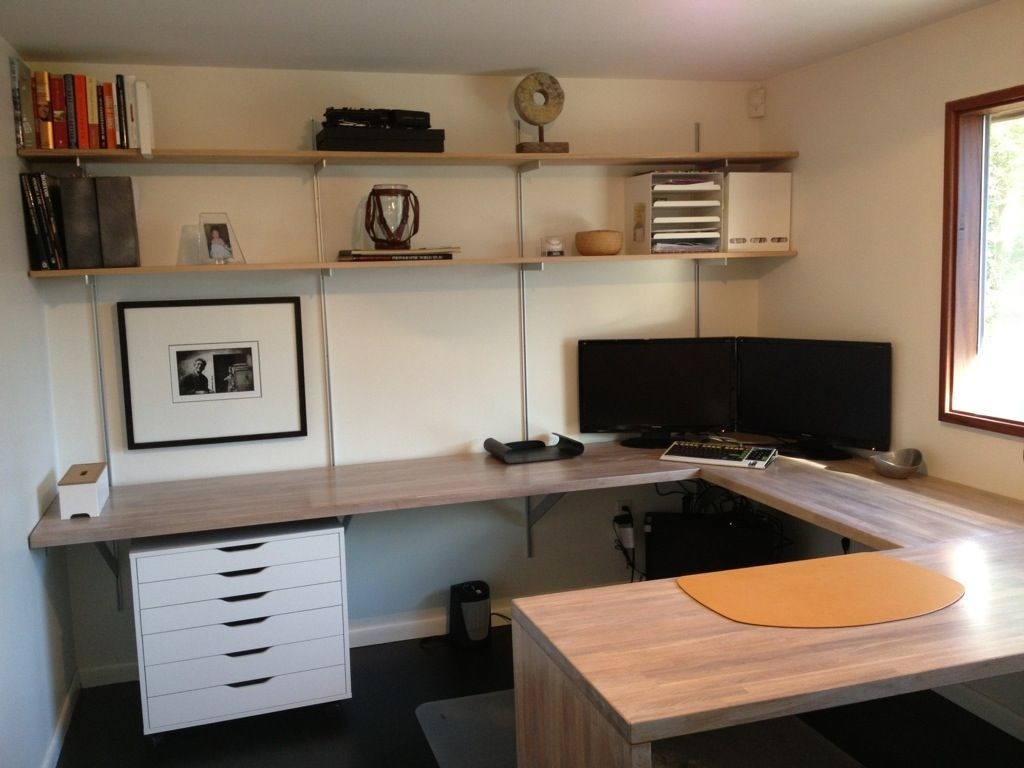 Rakks Shelving And Ikea Butcher Block Desk Work Space